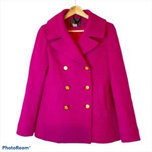 J. Crew Wool Pink Majesty Stadium Cloth Pea Coat 2